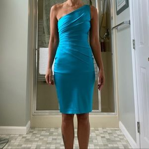One strap Fitted Aqua Blue Dress